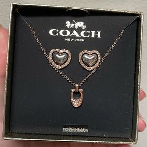 Coach rose gold C necklace with heart earrings set